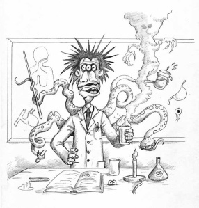 'Welcome to my Biology class!' – one of 30 pieces of awesome black and white artwork for Monster School by Danny Willis.